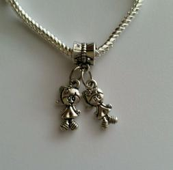 Little Girls Sisters Twins Babies Dangle Bead for Silver Eur