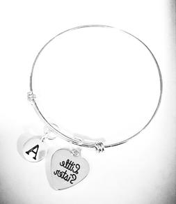 Little  Sister Expandable Bangle Charm Bracelet Initial Gift