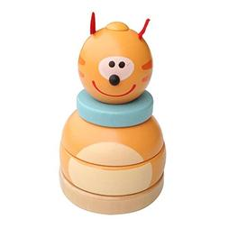 Little star Wooden Bear Tumbler Baby Early Learning Toy Butt