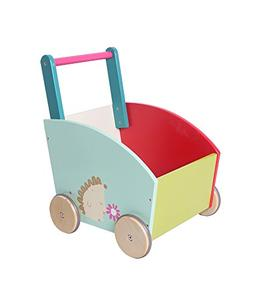 Labebe Baby Walker with Wheel, Green Hedgehog Printed Wooden