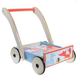 Labebe Baby Walker with Wheel, Blue Fox Printed Wooden Push