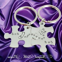 Long Distance Gift, Personalized Keychains, Custom Keychains