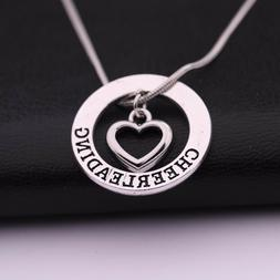 Love Carved Cheerleading Heart-shaped Pendant Necklace Gift