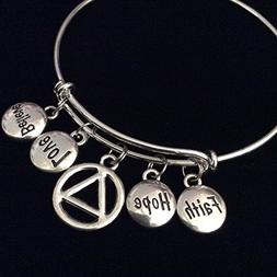 Love Faith Believe Hope AA Recovery Symbol Expandable Silver