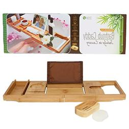 Pristine Bamboo Bathtub Caddy Tray - Packed with 12 Features