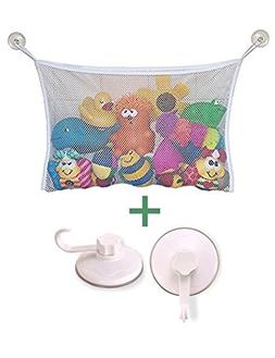 Mesh Bath Toy Organizer + 2 Ultra Strong Hooks Suction Cups