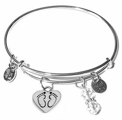 Message Charm  Expandable Wire Bangle Bracelet, in the popul