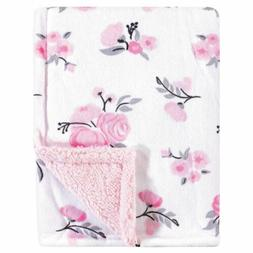 Hudson Baby Mink Blanket with Sherpa Backing, Pink Floral, O