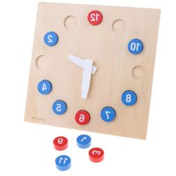 Montessori Wooden Time Teaching Clock for Baby Kid Early Lea