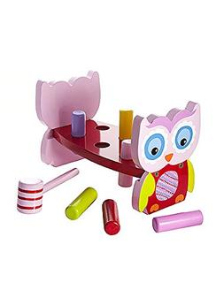 Mousheouse Quality Pink Owl Wooden Hammer Toy Pound-A-Peg Po