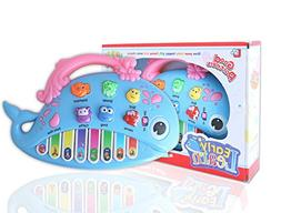 BBLIKE Baby Musical Piano Keyboard Toy 8 keys Blue Dolphin E