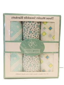 Muslin Swaddle Blanket for Baby Set of 3 Unisex Blankets 100