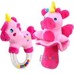 teytoy My First Rattle, 2pcs Soft Baby Rattles Set, Pink Hor