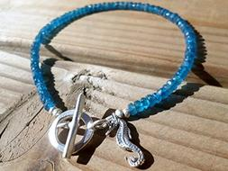 Neon Apatite and Hill Tribe Silver Bracelet - Sterling Silve