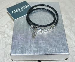 New $240 KING BABY Angel Wing Black Leather Wrap Bracelet 15
