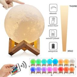 New 3D Moon Night Light Table Lamp USB Charging Touch Contro