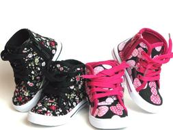 New  Baby Toddler Girls Canvas High Top Lace Up Shoes  Insid
