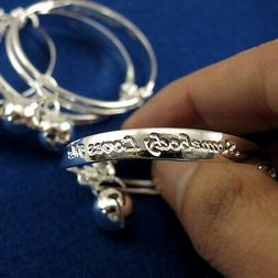 New Silver Plated Newborn Baby Bracelet Bangle for Infant wi