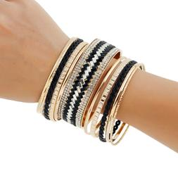New Women Jewelry Gold Silver Multi-layer Leather Bangle Wra