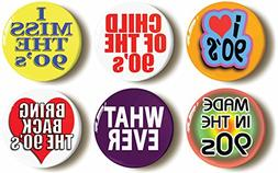Nineties Costume Party Button Pin Set  1990s