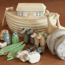 New Noahs Ark Gift Boxed Set Hand Carved & Painted Christeni