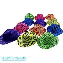 Novelty Place Neon Color Animal Zebra and Leopard Print P