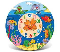Puzzled Ocean Life Wooden Toys Wooden Clock