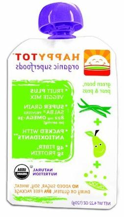 Happy Tot Organic Baby Food Stage 4 Green Beans, Pears & Pea