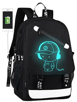 Unisex Oxford Luminous School Backpack Laptop Daypack with U