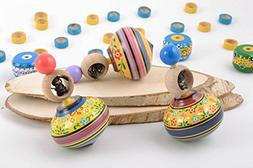 Handmade painted wooden toys set 3 pieces spinning tops with