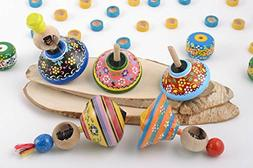 Handmade Painted Wooden Toys Set 5 Pieces Spinning Tops