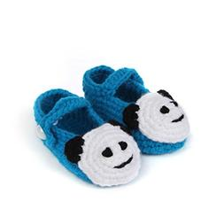 Somzie Panda Buckle Strap Infant Toddler Shoes Crochet Booti