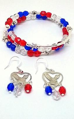 Patriotic red, white, and blue jewelry set. 4th of July Eagl