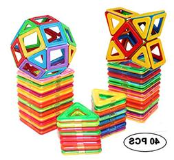 40 PCS Magnetic Tiles Building blocks Toys by DreambuilderTo