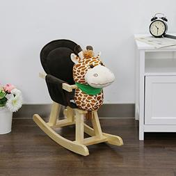 Peach Tree Baby Kids Toy Plush Wooden Rocking Horse for Chil