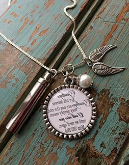 "Personalized Cremation necklace,""Goodbyes are not forever Go"