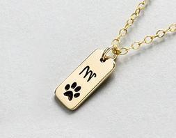 Personalized Dog Paw Print Initial Necklace or Loss of Pet M