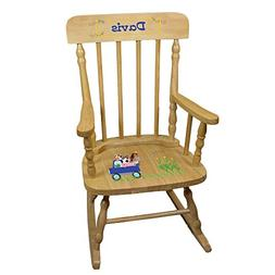 Personalized Natural Childrens Rocking Chair with Blue Farm