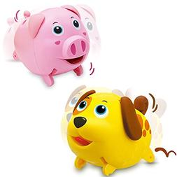 Electronic Mini Animal Toy Play Set, Dog N Pig, Walking N Ju