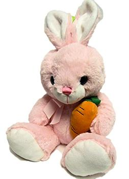 Fluffy Pink Bunny Rabbit with a Carrot Plush Stuffed Toy 10.