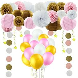 GOER 49 Pcs Pink Gold Theme Party Decorations,Tissue Pom Pom