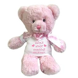 Personalized Pink Teddy Bear for Baby Girl