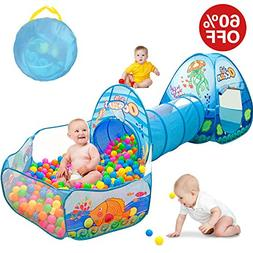 Kids Play Tent with Tunnel, Ball Pit Play House for Boys, Gi