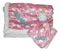 Plush Custom Embroidery Name Baby Blanket  With Lovey Blanke
