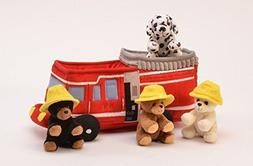 Plush Fire Truck with Stuffed Animals - 3 Bears with Hats an