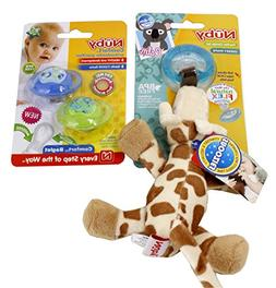 Nuby Plush Pacifier Combo Set and 2-Pack Orthodontic Pacifie