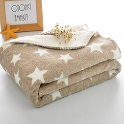 DANGTOP 100% Polyester Flannel Blanket with Star Pattern Sup