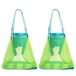 Biubee Portable Tote Bag for Beach Toys- 2 Packs Lightweight