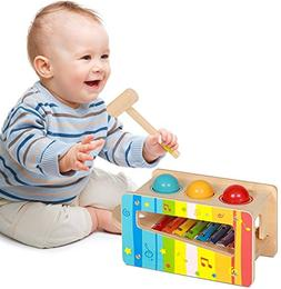 Pidoko Kids Pound And Tap Bench with Slide Out Xylophone - T