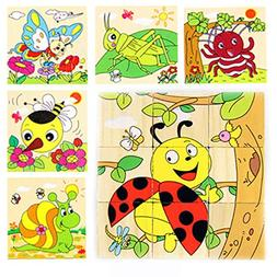 Syeer Kids Puzzle Wooden Toy Cartoon 3D Puzzle Blocks 6 Side